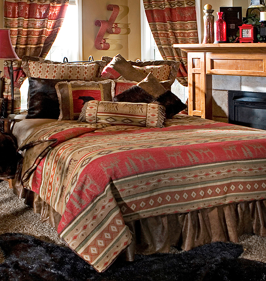 Luxury rustic bedding and cabin bedding - Adirondack style bedroom furniture ...