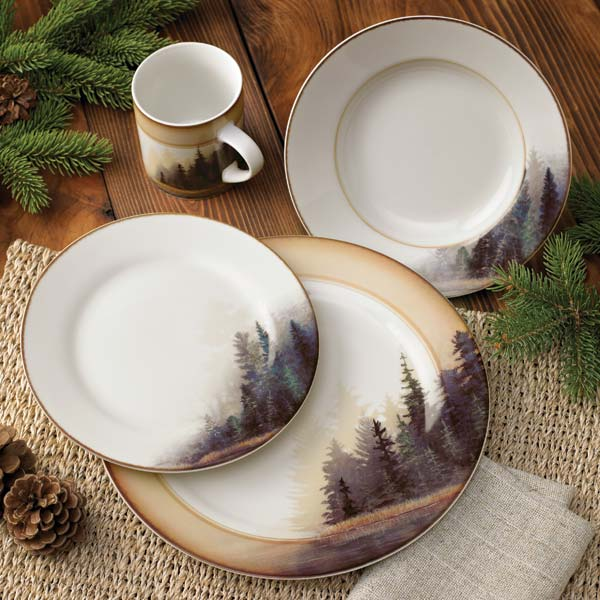 Cabin lodge rustic decor cabin lighting and furniture for Kitchen set plates