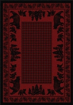 Bear Family Cabin Rug Series - Red