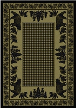 Bear Family Cabin Rug Series - Green