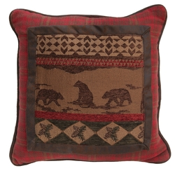 Cascade Lodge Bear Scene Pillow - 18 x 18