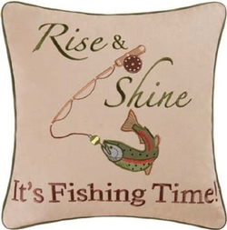 Fishing Time Embroidered Pillow