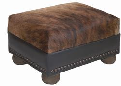 Brindle Hair on Hide Leather Ottoman