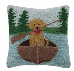 Golden Lab Canoeing Hooked Pillow