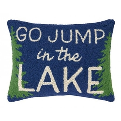 Go Jump In The Lake Tree Border Hooked Pillow