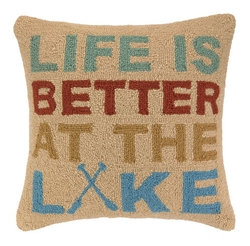 Life is Better at the Lake Hooked Pillow