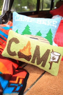 Camp Marshmallow Hooked Pillow
