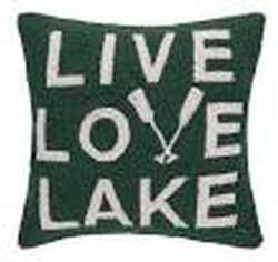 Live Love Lake Hooked Pillow