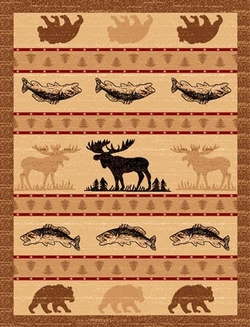 Moose, Bear, Fish Cabin Rugs-5 Size Options