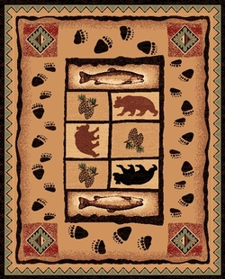 Paws, Bear, Fish Lodge Rug