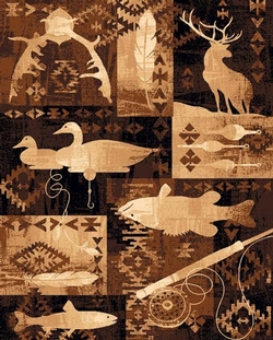 Fish. Ducks, and Deer Lodge Rug - 5 Size Options