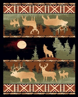 Elk, Deer and Howling Wolf Lodge Rug - 5 Size Options