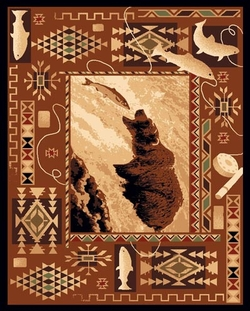 Bear Fishing Lodge Rug - 5 options
