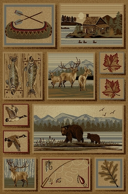Bear, Elk, Canoe, Duck Cabin Rug - 5 Sizes