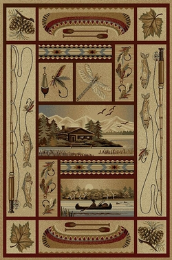 Cabin, Fishing Canoe, Pinecone Rug - 5 Size Options