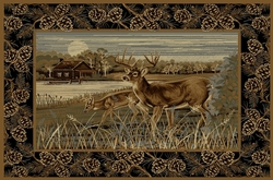 Deer Family Wilderness Cabin Rugs - 5 Size Options