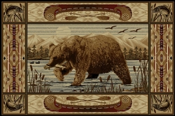 Bear Fishing Canoe Wilderness - 5 Size Options