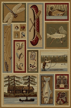 Dragonfly, Fishing Canoe Wilderness Rug - 5 Size Options