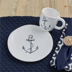 Anchor Salad Plate and Mug Set