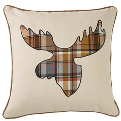 Moose Plaid Applique Pillow