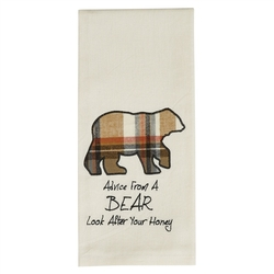 Advice From a Bear Applique Dish Towel