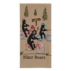 Biker Bear Embroirdered Dish Towel