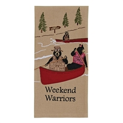Weekend Warriors Embroidered Dish Towel