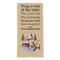 Things to Have at the Lake Embroidered Dish Towel