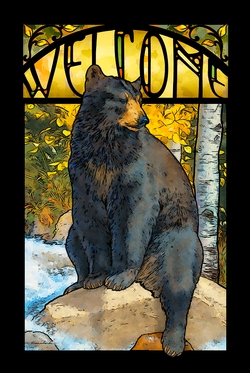 The Paws that Refreshes - Bear Stained Glass Art