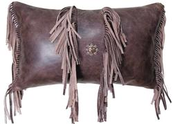 Fargo Chocolate Leather Accent Pillow 12