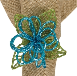 Beaded Flower Napkin Ring - Set of Two