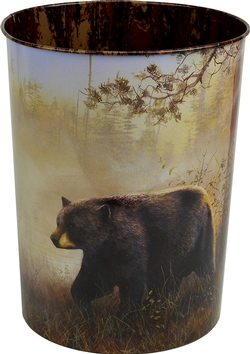 Black Bear Tin Waste Basket