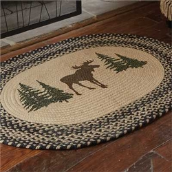 Moose Printed Braided Rug