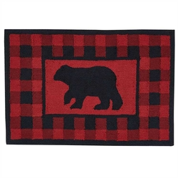 Buffalo Check Bear Hooked Rug