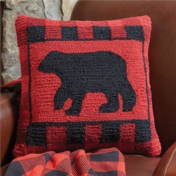 Buffalo Check Bear Hooked Pillow 18