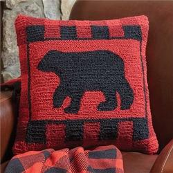 Buffalo Check Bear Hooked Pillow 18