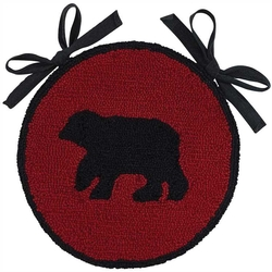 Buffalo Check Bear Hooked Chair Pad - Set of Two
