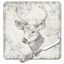 Deer Cheese Board with Knife