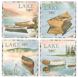 Lake Boat Tile Coasters - 4 Assorted