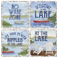 At the Lake Tumbled Coaster - Assorted Set of 4