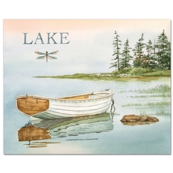 Lake Boat Glass Cutting Board