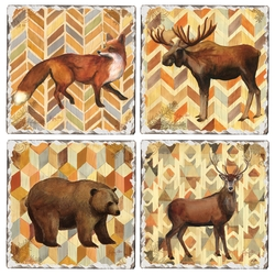 Wildlife Tumbled Coasters - Set of 4