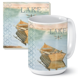 Lake Boat Mug and Coaster Set