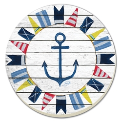 Nautical Flag Circle Coasters - Set of 4