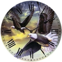 Pair of Eagles Clock