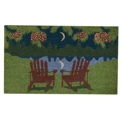 Moonlit Pine Forest Night Doormat