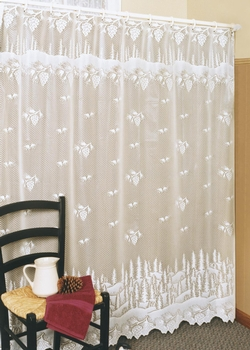 Pinecone Lace Shower Curtain-Ecru