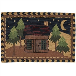 Moonlit Cabin Hooked Rug