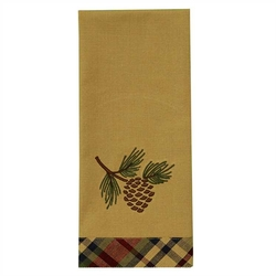 South River Pinecone Embroidered Dish Towel
