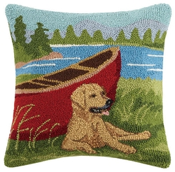 Golden Lab w/Red Canoe Hooked Pillow